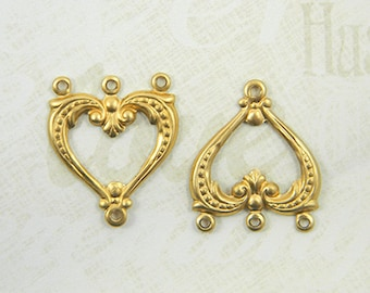 12 pcs. Brass Heart Connectors, Brass Connector, Heart Link, Chandelier Earring, Raw Brass Stamping, 19mm x 22mm - (r301)