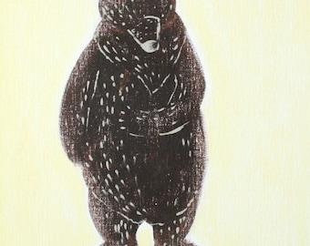 "California Grizzly Bear 11x14"", Hawk art, grizzly bear print, bear, housewares, room decor, grizzly bear, brown bear"