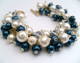 Bridal Jewelry, Midnight Blue and Ivory Wedding, Pearl Bridesmaid Bracelet, Navy Blue Jewelry, Chunky Cluster Bracelet, Pearl Bracelet, Gift