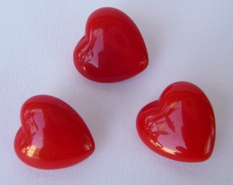 3 Shiny Vintage Red GLASS Heart Buttons
