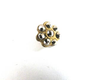 Diminutive Gilt Cut Steel Buttons Flowers Floral Costume Design Sewing French