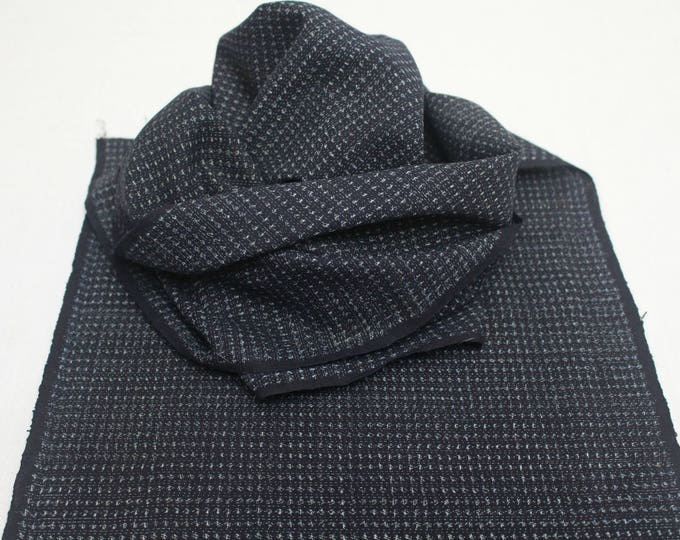 Hand Loomed Antique Cotton. Japanese Kasuri Kagasuri Ikat. Dark Indigo Blue Black Scarf. (Ref: 1589B)