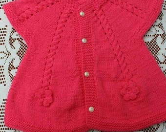 Knitted Candy Pink Short Sleeve Cardigan