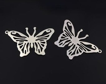 Large Butterfly Pendant - Set of 4 - Antique Silver - #HK1122