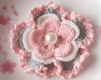 Crochet Flower in 3-1/4 inches in Lt Pink, Off White, Gray YH - 076-14