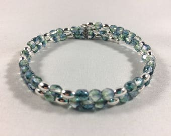 Blue & Green and Silver Wrap Bracelet