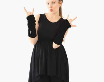Black Polar Tec Fleece Texting Gloves Long Black Fingerless Gloves Black arm warmers  Fingerless Gloves wrist warmers fleece