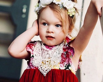 Daisy and Peony Flower Crown - Baby Flower Crown - Toddler Flower Crown - Floral - White Crown - Newborn Photos - Baptism - First Birthday