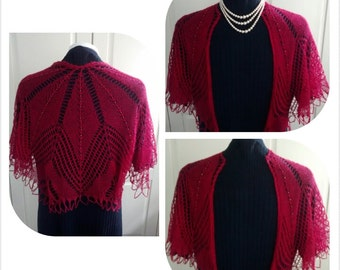 Hand knitted beaded lace shoulder shrug-silk / alpaca mix- understated elegance for everyday wear-Crimson red