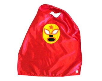 Luchador Amarillo - Yellow Mexican Wrestler Cape - Red