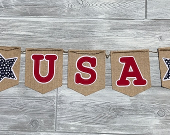 4th of July Banner Bunting.July 4th Decoration.USA Banner.Patriotic Garland.Memorial Day Decoration.Independence Day.Patriotic Decor