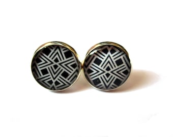 Tribal Earrings - Stud Earrings -Geometric Earrings - Native Jewelry - Ethnic Earrings - Aztec Earrings - Black and White - Gift for woman