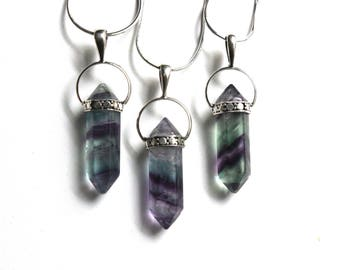 The crystal moon fluorite pendant | sterling silver