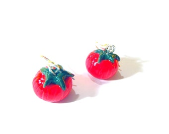 Earrings THE TOMATOES -- Miniature polymer clay earrings by The Sausage
