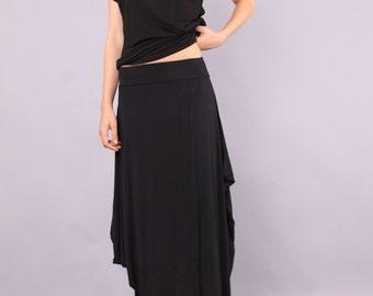 Maxi Skirt, long skirt, Black skirt, Floor length skirt, Layered skirt, Extravagant skirt by UrbanMood - CO-LILI-VL