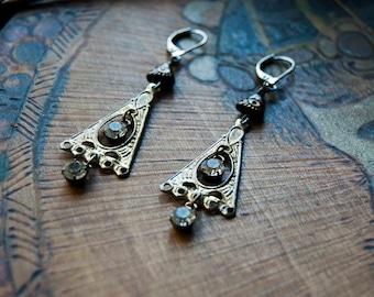 All Seeing Eye Triangle Chandelier Earrings with Rhinestones