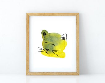 Cat watercolor art, watercolor cat art print, big wall art, watercolor painting