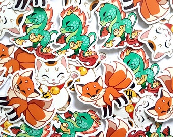 Cute Maneki Neko, Kirin and Kitsune vinyl sticker set