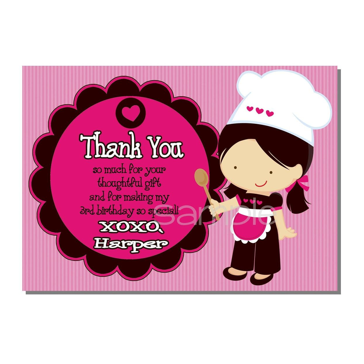 Baking party thank you card little chef birthday party zoom monicamarmolfo Images