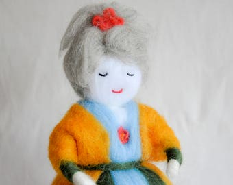 Needle Felted Doll, Butternut Squash