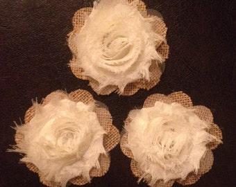 Primitive Natural Burlap & Ivory Chiffon Flowers Rustic Country Barn Wedding Decoration Set/3