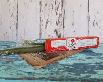 Retro Christmas Candles Unused in Original Box - Vintage Bayberry Scented Tapers, Mid Century Christmas, Holiday Decor, Vintage Christmas