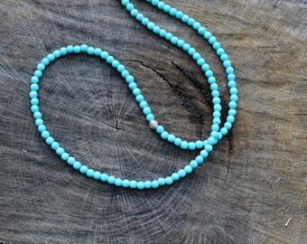 Long Turquoise Necklace, boho mens beaded necklace, ethnic necklace, surfer beaded necklace, tribal western jewelry, southwestern, item gift