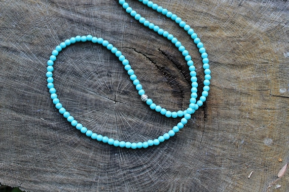 Long Turquoise Necklace boho mens beaded necklace ethnic