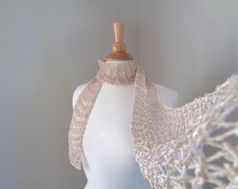 Champagne Brown Skinny Scarf, Hand Knit, Thin Lacy Scarf, Silky Cotton, Chic Fashion, Women Teen Girls, Great Gift