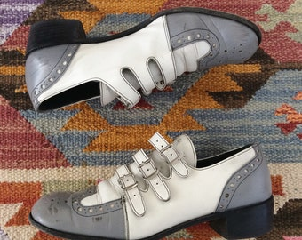 1940's Grey & White Leather Buckle Shoes Size 7 - 7.5 by Maeberry Vintage