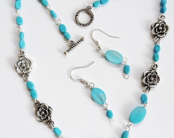 Turquoise & Chatoyant Beads with Silver Flowers Necklace