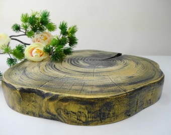 Wood Circle Centerpiece, Tree Trunk Centerpiece, Rustic Wood Cake Stand, Cake Stand, Wood Round Display, Tree Round Base, Tree Stump, 10""