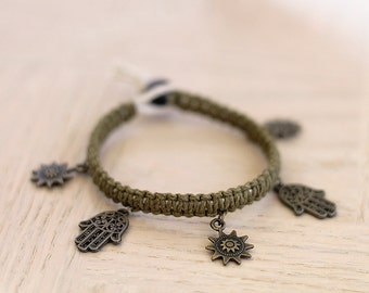 Hand of Fatima Bracelet - Hemp Bracelet - Hemp Jewelry