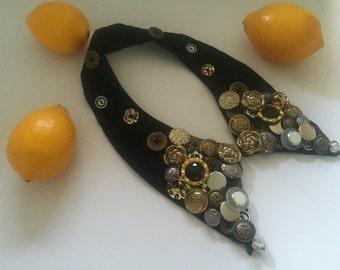 Black button collar