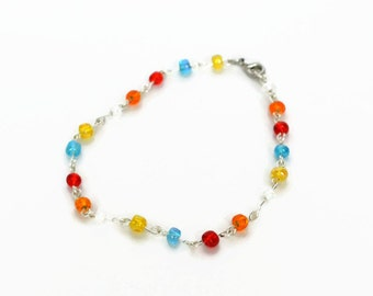 Seed Bead Bracelet, Delicate Beaded Bracelet, Colourful Bracelet