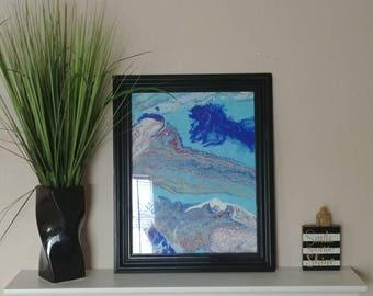 Doppler 17 x 21 wood panel framed in glass.