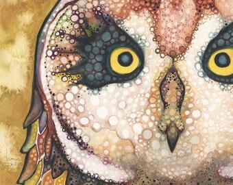 Sacred Hawaiian Pueo Owl 5 x 7 print, earth tone palette with mustard yellow, animal totem, spirit animal painting