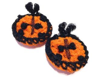 Ladybug Crocheted Nylon Netting Dish Scrubbies- Pair Of Orange