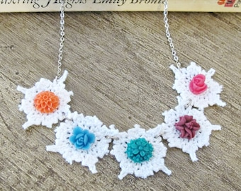Boho Chic Jewelry Necklace - Doily Botanical Floral Flowers - Rainbow Pink Green Blue Orange - Crochet Upcycled Repurposed For Women