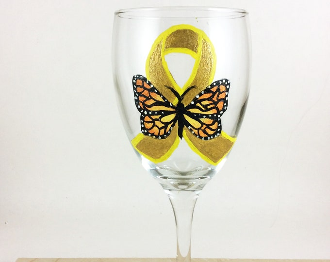 Awareness Ribbon, Butterfly Ribbon, Wine glasses, St. Baldricks, Childhood Cancer, Butterfly, Gold awareness ribbon, wine lover gift