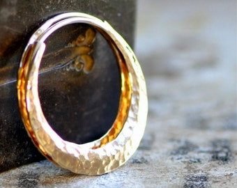 1 inch 14k gold hoops,  wide, thick, self locking hammered, endless style loops, ball pein texture or your choice,  eco friendly