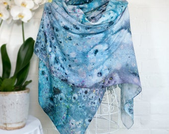 Metamorphic Salts - silk wool large scarf wrap shawl - contemporary abstract painterly waterey blue limited edition gift