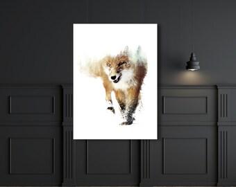 Double exposure fox print animal art poster