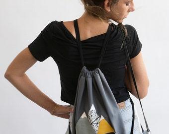 Mountains Backpack, Drawstring Backpack, Travel Backpack, Canvas Backpack, Mountains Bag, Drawstring Bag, Geometric backpack, Bike Backpack