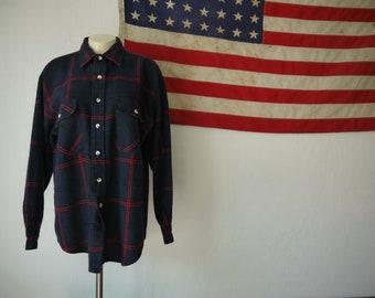 Vintage 70s St Johns Bay Plaid Flannel Button-Down Shirt / 80s St Johns Bay Plaid Flannel Acrylic Long Collar Tartan Lumberjack button up