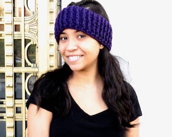 Crochet Headband, Ear Warmer, Women,Teen, Ready To Ship, Color is Dark Purple,