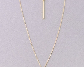 Double Bar layered chain necklace