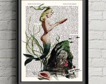 Mermaid Wall Art Mermaid Dictionary Print-Beach  Decor- Ocean Art- Mermaid Decor- Under The Sea- Nautical Decor Bathroom Decor