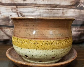 Beautiful Hand Thrown Clay Berry Bowl Set Colander Drip Plate