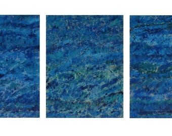 Large Abstract Paintings On Wood - Blue Abstract Art - Blue Wall Decor  Blue Abstract Painting Original Blue Seascape Blue Triptych Painting